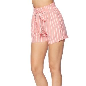 SHORTS BLUSH STRIPED TIE FRONT POCKETS WOM…